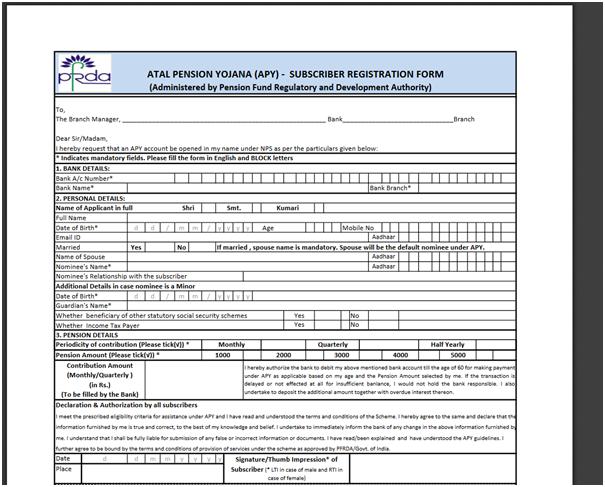 Atal Pension Yojana Apy Application Form Eligibility